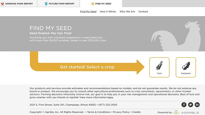 A screenshot from Agrible's Find My Seed tool.