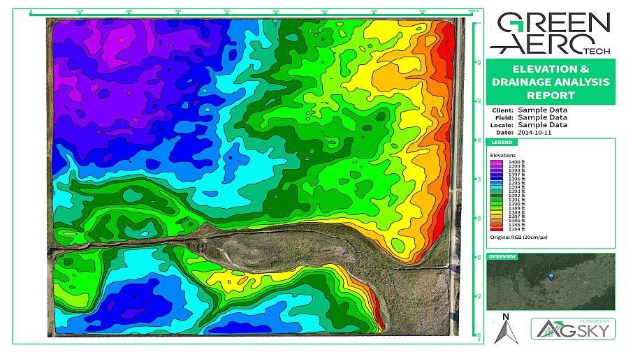 "A Green Aero Tech UAV-produced drainage map, which the newly formed company says ""shows the natural water flow on the land. It also points out where water is getting trapped in sinks and depressions."""