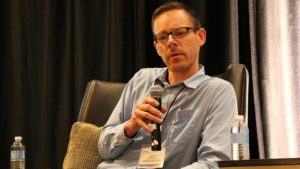 "Farmers Edge's Andrew Nadler during the 2016 Precision Ag Innovations Series panel ""From Weather Datat to Nutrient Managment: Challenges and Opportunities in Precision Integration."""