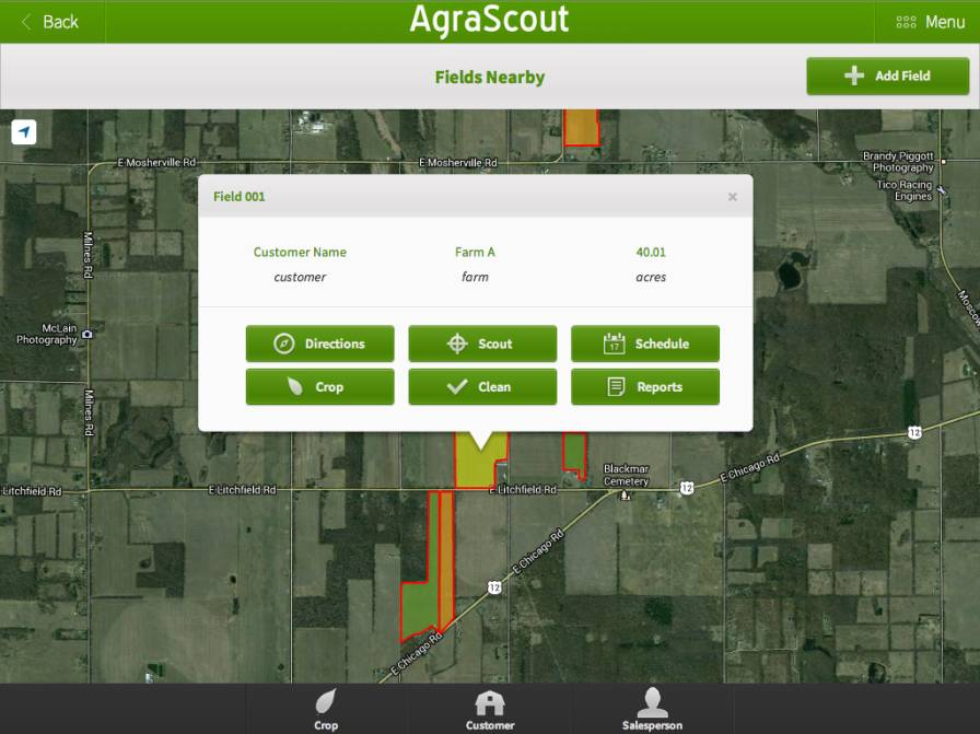 Fields Nearby feature on AgraScout app